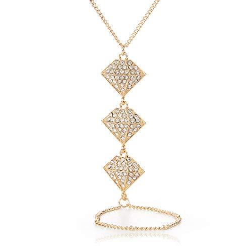 Color Oro Imitación Rhinestone Forma Cadena Pulsera Nupcial Set Boda Accesorio Cristal Bangle Finger Loop Set Luxury