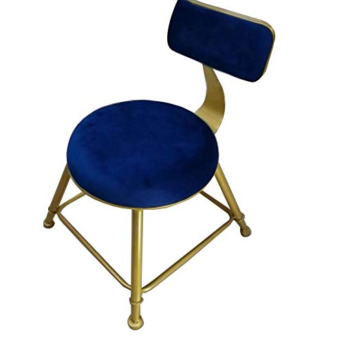 YCSD Child Small Stool Wrought Iron Backrest Chair Child Padded Seat Household Shoe Changing Stool for Adults Kids(Color:Blue)