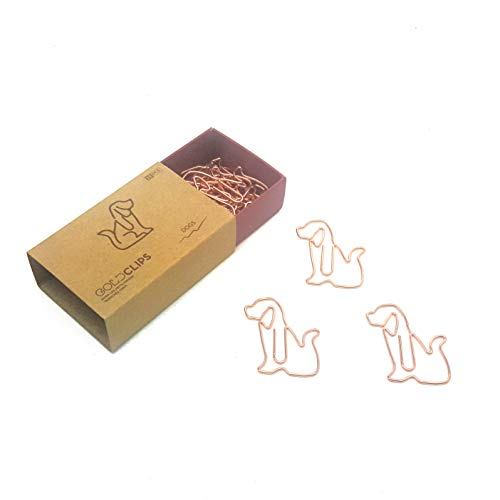 DESIGNMANUFAKTUR BERLIN GOLDCLIPS niedliche süße Deko Clips Büroklammern Heftklammern Lesezeichen Paperclip rose vergoldet in schöner Verpackung, Motiv Hund/Dog