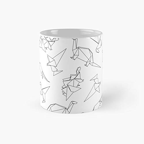 Origami Dinosaurs Classic Mug - A Novelty Ceramic Cups Inspirational Holiday Gifts For Morther's Day, Men & Women, Him Or Her, Mom, Dad, Sister, Brother, Coworkers, Bestie.