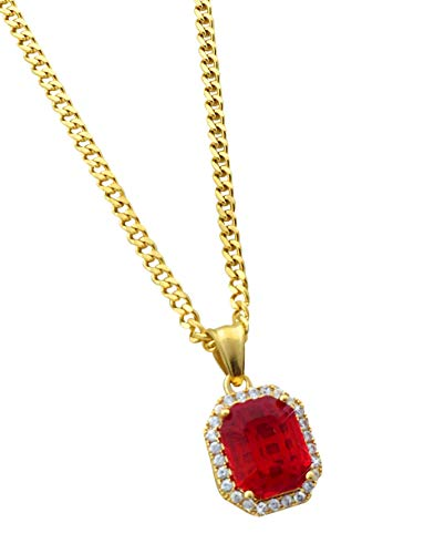 Exo Jewel Diamond Gem Stone Stainless Steel Pendant Necklace with 24' 2mm Cuban Chain (Gold Red Stone)