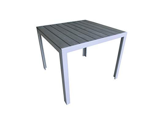 Pure Home & Garden Aluminium Gartentisch Fire Square mit Polywood Tischplatte, 70x70 cm absolut wetterfest, Silber aus…