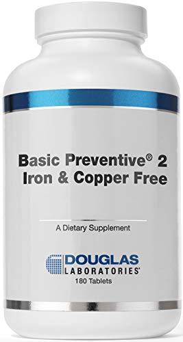 Douglas Laboratories - Basic Preventive 2 - Iron and Copper Free Multivitamin-Mineral Formula and Base of Freeze-Dried Bovine Glandulars - 180 Tablets