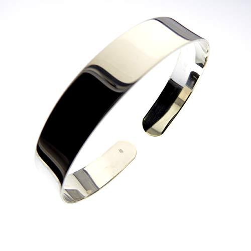 XieXie 925 Sterling Silber Armreif Rohling 10mm breit poliert für Schmuck Bastelarbeiten