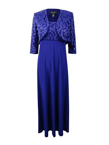 R&M Richards Women's Two Piece Sequins Jacket Dress, Royal, 14 2 Piece Blue Dress