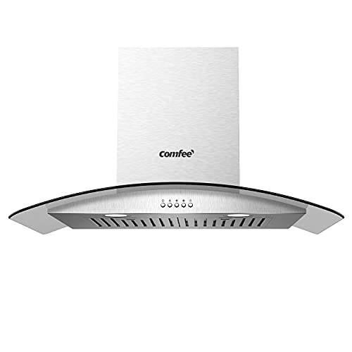 Comfee V71 30 Inches Ducted Wall Mount Vent Range Hood with 450 CFM 3 Speed Exhaust Fan, Baffle Filters, Curved Glass, 2 LED Lights, Convertible to Ductless, Stainless Steel