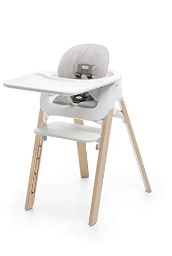 Stokke Steps High Chair Bundle Complete with Cushion (Natural/White/Grey Cushion)