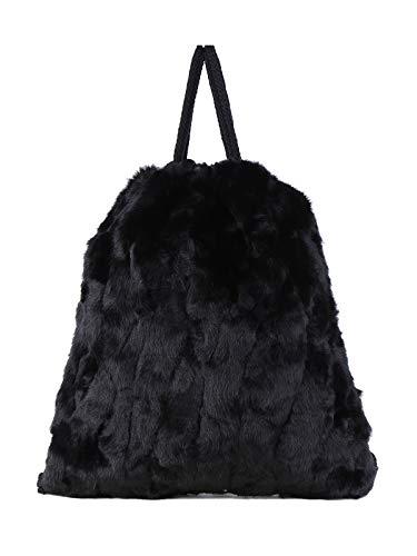 SOLADA Zaino a sacca in pelliccia donna nero Ecopelle