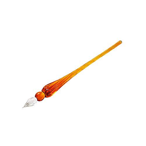 R Molshine Handmade Crystal Glass Dip Pen Glass Signature Pen Business Present (Deep water red)
