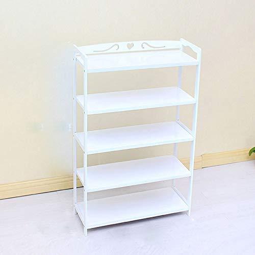 47-B - Scarpiera semplice e piatta, in bambù, colore: bianco, a più strati
