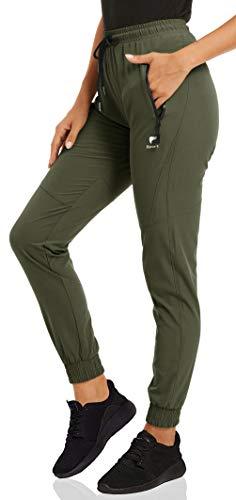 CRYSULLY Pantaloni da donna – Pantaloni da jogging casual all'aperto leggeri ad asciugatura rapida per atletica, corsa, escursionismo, camminata con tasche con cerniera Verde militare XS