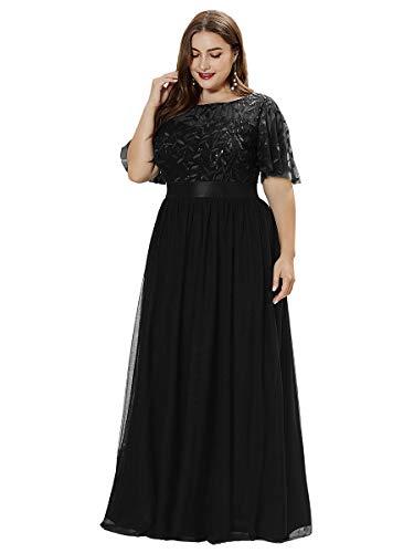 Ever-Pretty Damen Elegant Empire A-Linie Bodenlang Kurze Ärmel Tüll große Größe Abendkleider Schwarz 54