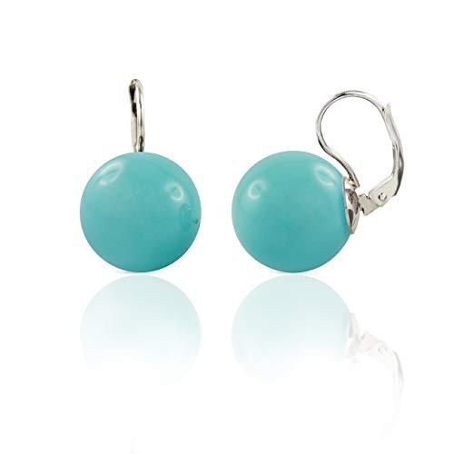 inSCINTILLE Pendientes de plata con bola de colores azul turquesa