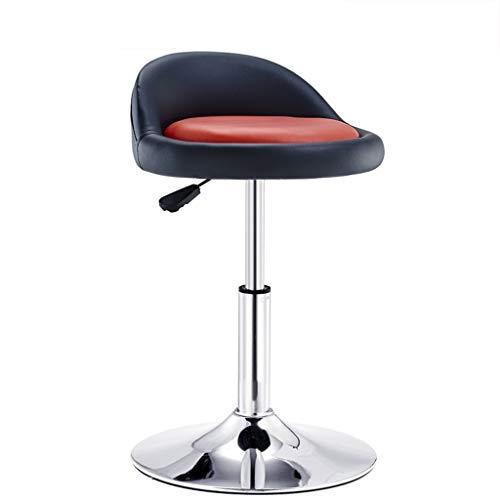 YLCJ Barhocker Stuhl mit rotem PU-Sitz Einstellbare Gasfeder, Höhe 40-53 cm für die Küche Theke Barhocker Verchromter Tellerfuß max. Laden Sie 150 kg in Schwarz