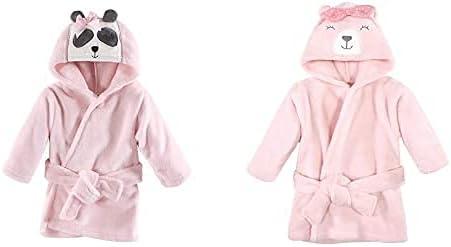 Hudson Baby Girl Plush Animal Face Bathrobe 2-Pack, Miss Panda Bear