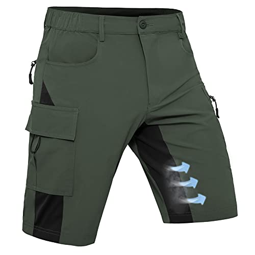 Hiauspor Mens Quick Dry Stretch Cargo Shorts MTB Mountain Bike Shorts for Hiking Tactical Fishing with Zipper Pockets (Army Green, X-Large)