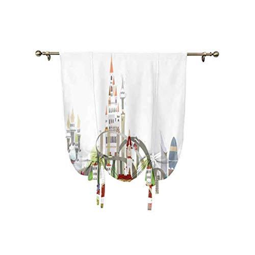 Cortina de cortinas de fantasía con aislamiento térmico, diseño urbano con rascacielos de estilo medieval, ilustración de ciudad, cortina de 76 x 107 cm, para sala de estar, cortina romana multi