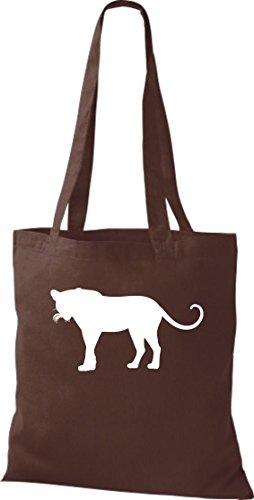 Stoffbeutel; Tiermotiv Raubkatze, Puma, Leopard,Tiger, Jaguar, Panther, Löwe; Farbe Braun