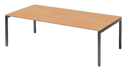 Bisley Cito Chefarbeitsplatz/Konferenztisch, 740 mm höhenfixes U, H 19 x B 2400 x T 1200 mm, Metall, Bc334 Dekor Buche, Gestell Anthrazitgrau, 120 x...