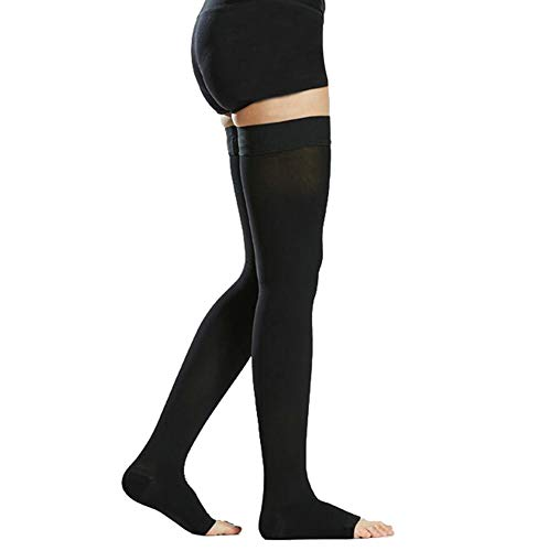Thigh High Compression Stockings, Opaque, Firm Support 20-30 mmHg Gradient Compression with Silicone Band, TOFLY Open-Toe Compression Stockings, Treatment Swelling, Varicose Veins, Edema, Black M