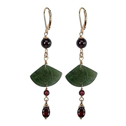 WOZUIMEI Chinese Style Earrings Eardrop S925 Sterling Silver Inlaid Natural Nephrite Jasper Earrings Retro Female Long Earrings As Shown