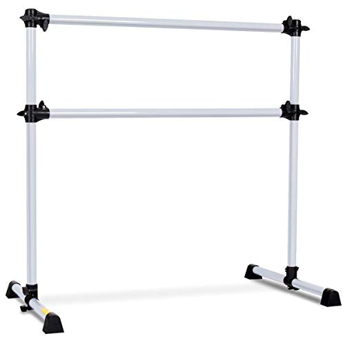 GOFLAME Ballet Barre Portable Double, Freestanding Ballet Barre Adjustable, Heavy Duty Dancing Stretching Ballet for Home,Dance Barre, Fitness Ballet Bar (Silver)