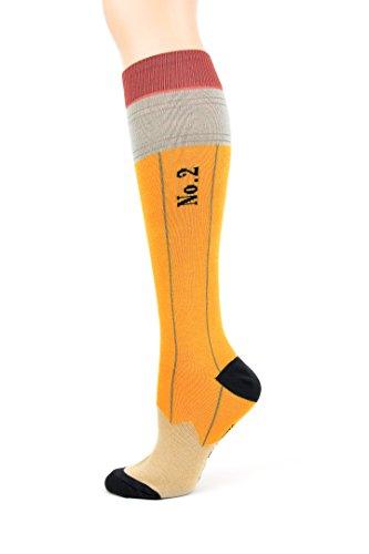 Foot Traffic, Women's Pencil Knee High Yellow/Black Socks,Fits shoe sizes 4-10