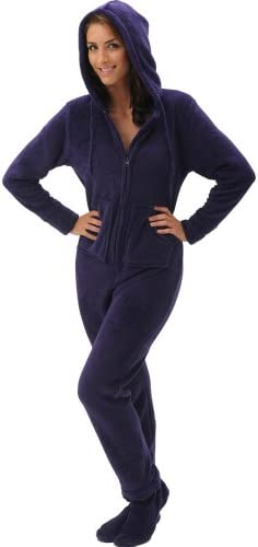 Alexander Del Rossa Women s Warm Fleece One Piece Footed Pajamas Adult Onesie with Hood Small product image