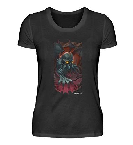 Arkham Camiseta de manga corta para mujer, diseño de demonio y misterio Negro XL