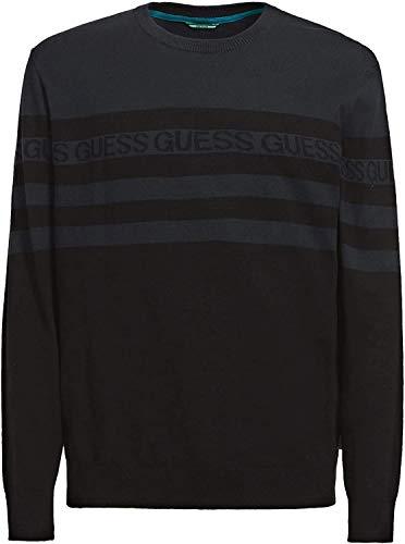 Guess Camiseta de manga larga de algodón orgánico para hombre, a rayas, color gris y azul y negro (azul y negro, S)