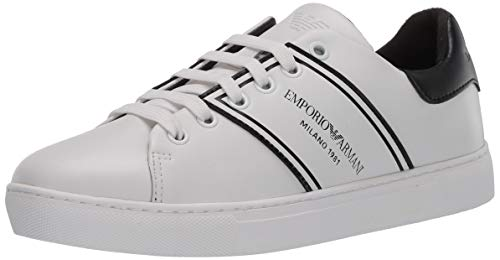 Emporio Armani Damen LACE UP Sneaker Turnschuh, weiß/schwarz, 34 EU
