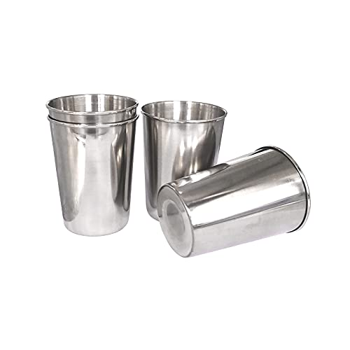 4Pack 6oz Stainless Steel Cups, BPA Free Healthy Pint Drinking Cups Metal Drinking Glasses For...