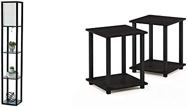 Simple Designs Home LF1014 BLK Etagere Organizer Storage Shelf Linen Shade Floor Lamp Black product image