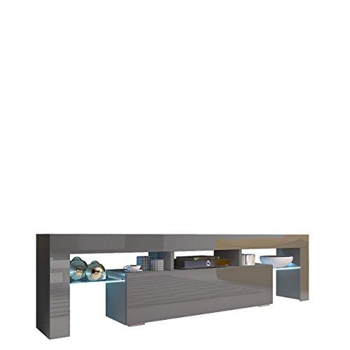 Mirjan24 TV Board Lowboard Toro 158, TV Lowboard mit Grifflose Öffnen, Unterschrank, Fernsehschrank, Sideboard Mediaboard, Mediaboard (Grau/Grau Hochglanz, ohne Beleuchtung)