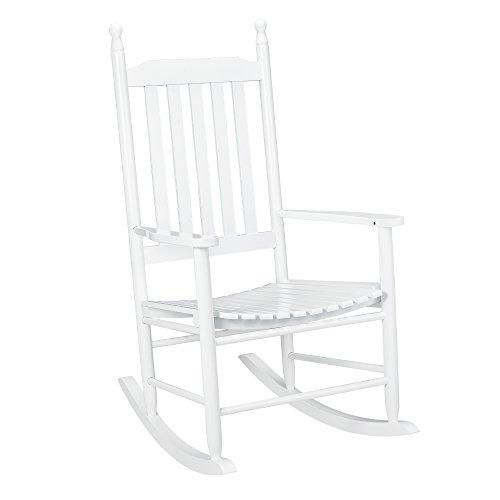 [casa.pro]® Schaukelstuhl Weiß aus Massiv-Holz – Hochwertiger Relax-Stuhl mit Armlehne zur Entspannung oder als Still-Stuhl – Schwing-Sessel Schaukel-Sessel für Wohnzimmer Küche Balkon Garten