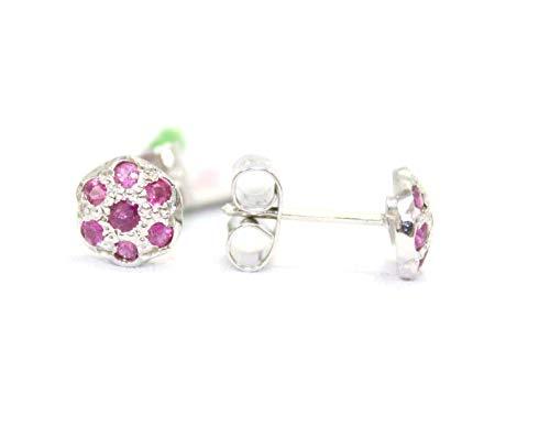 Rajasthan Gems Pendientes de tuerca para mujer de plata de ley 925 con gema de rubí rojo P 112