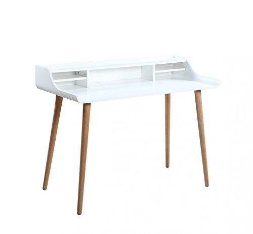 SalesFever® Schreibtisch Malin, weiße MDF, furniert, Massive Eichen-Füße, 120 x 58 x 74 cm, Trendiger & robuster Arbeits-Tisch, Pflegeleichte Oberfläche