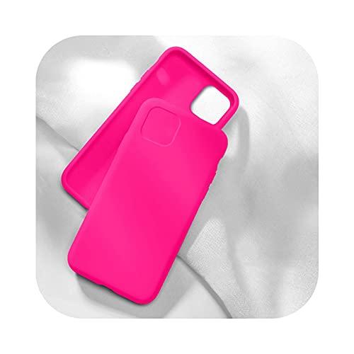 Funda de silicona oficial original para iPhone 12 Mini XR XS X 7 8 6 6S Plus funda para iPhone 11 12 Pro Max SE 2020 cubierta completa Firefly Rose-para iPhone 11 Pro