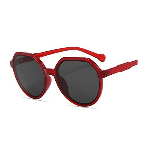 MINGQIMY Gafas de Sol Moda Todos los Gafas de Sol de la Tendencia del Juego Marco Redondo Personalizado Gafas de Sol para Tendencia Color Color Big Marco Gafas de Sol (Objektiv-Farbe : B Red)