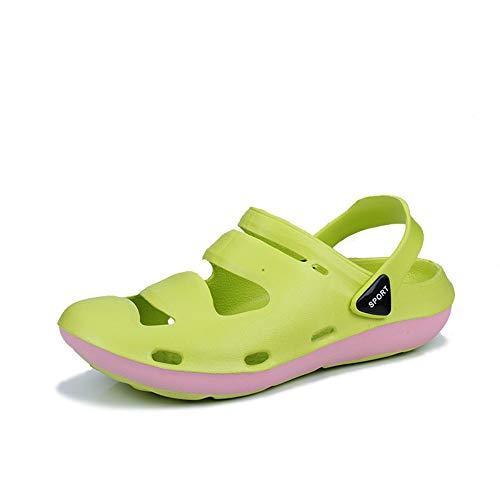 KKsumer Männer Hausschuhe Mode Loch Schuhe Tragbare Anti-rutsch Gartenboden Schuhe Strand Schuhe Lemon grün 44