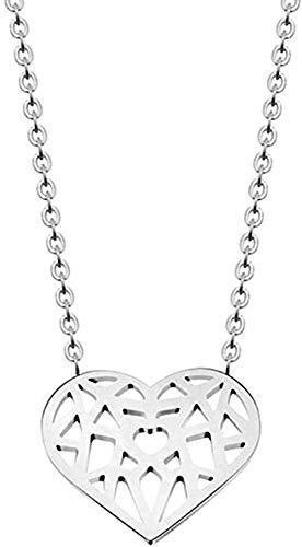 LKLFC Collar para Mujer Hombre Collar Collares Origami Corazón Amor Collares Colgantes Mujeres Joyería Bohemia Regalos de Dama de Honor Collar Colgante Niñas Niños Regalo
