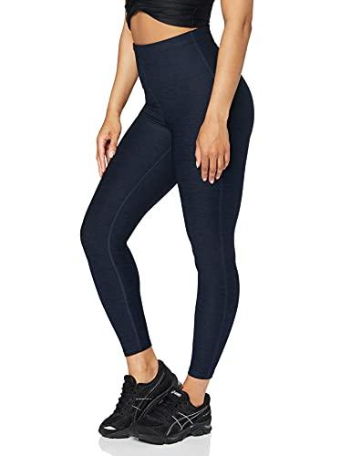 Marca Amazon - AURIQUE Mallas de Deporte Tiro Alto Mujer, Azul (Blue Marl), 38, Label:S