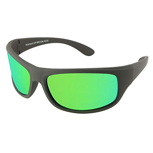 Gafas de sol polarizadas EREBOS | Cat. 4 especialmente oscuras | Protección UV 400 | Para sol extremo | En caso de fotofobia | Gafas de sol deportivas | 24 g (Antracita | Espejado verde | Tinte lila)