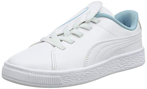 PUMA Basket Crush AC PS, Zapatillas para Niñas, White-Milky Blue, 33 EU
