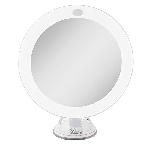Zadro Miroir de maquillage mural grossissant x 10 avec éclairage LED et ventouse - Blanc