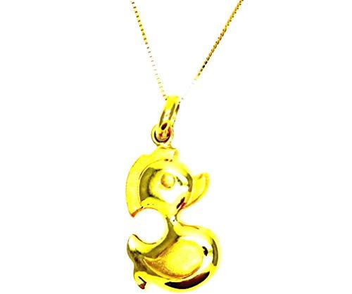 Pegaso Joyería–Collar oro amarillo 18kt cadena Veneta con colgante pato pato–satinado Mujer Niña Infantil