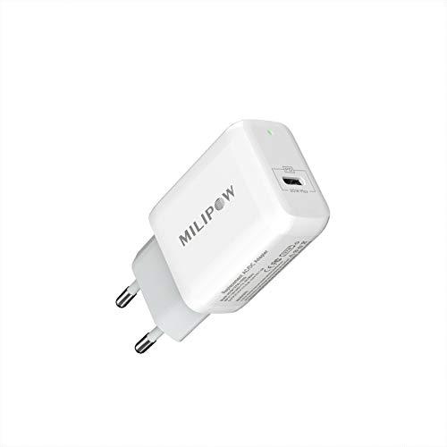 Milipow Cargador PD 20W USB-C Carga Rápida Cargador de pared compatible con iPhone 12/12 Mini/12 Pro/12 Pro Max, iPad Pro, AirPods Pro, Galaxy S10 S9 S8, Pixel, y otros dispositivos de tipo C