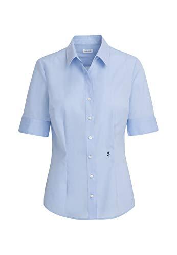 Seidensticker Damen Bügelfreie, schmal taillierte Hemdbluse-Slim Fit-Hemdbluse-Kurzarm-100% Baumwolle Bluse, Hellblau, 44