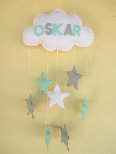 Handgemacht Filz Wolke Baby Mobile Mit oder ohne Namen Kinderzimmer Dekor grau mint grün Sterne