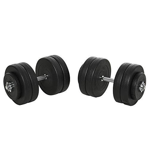 homcom Set Manubri Palestra 50kg Kit Pesi Bodybuilding Regolabile con 12 Dischi Gommati Nero